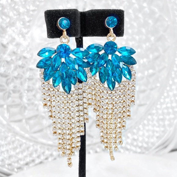 Prom Pageant Bridal Jewelry - Teal Crystal & Rhinestone Drape Event Earrings